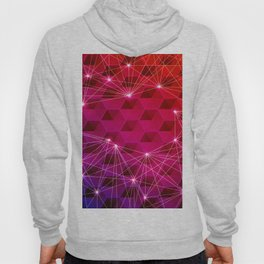 Gradient Purple Red Orange Hexagons Connected by White Nodes and Lines Hoody