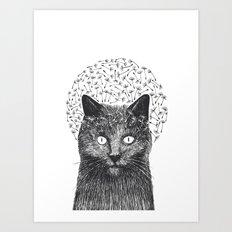 Dandelion black cat Art Print