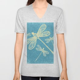 Abstract dragonflies in yellow on textured blue Unisex V-Neck