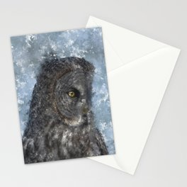Contemplation - Great Grey Owl Portrait Stationery Cards