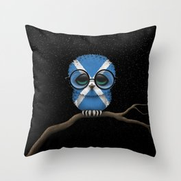 Baby Owl with Glasses and Scottish Flag Throw Pillow