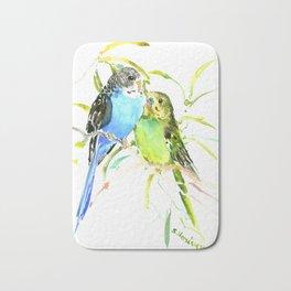 Budgies, love bird green blue decor Bath Mat