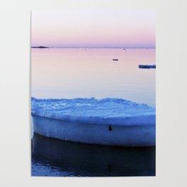 Ice Raft at Dusk on Calm Seas Poster