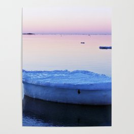 Ice Raft at Dusk on Calm Seas Poster