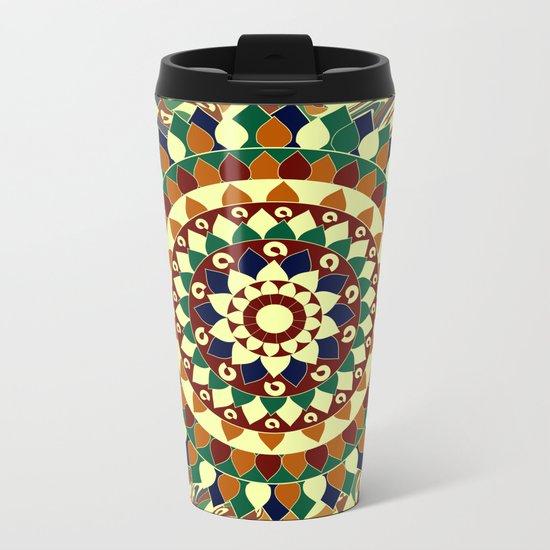 Mandala in brown and blue Metal Travel Mug