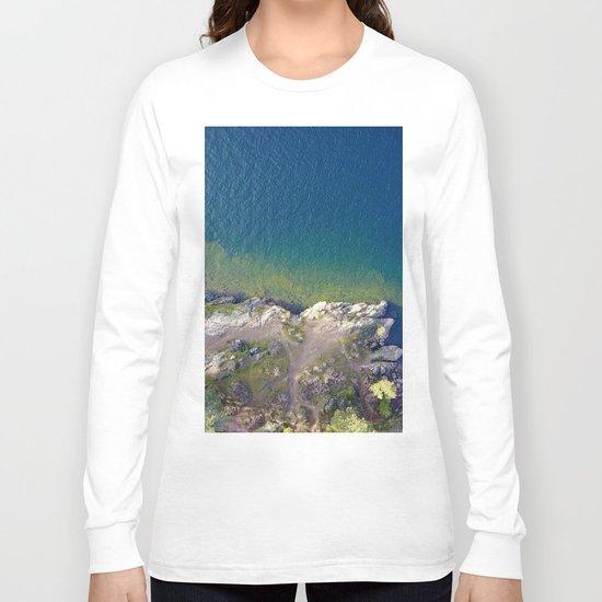 ocean rock green blue Long Sleeve T-shirt