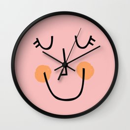 Winky Smiley Face in Pink Wall Clock