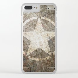 Army Star on Distressed Riveted Metal Door Clear iPhone Case