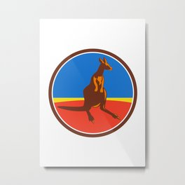Kangaroo Circle Retro Metal Print