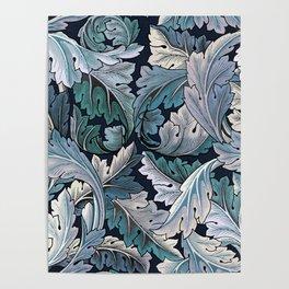 Art Nouveau William Morris Blue Acanthus Leaves Poster