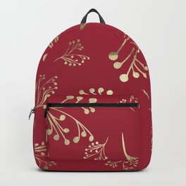 Holiday Flourishes in Digital Gold Foil Design on Cranberry  Backpack