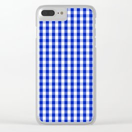 Cobalt Blue and White Gingham Check Plaid Squared Pattern Clear iPhone Case