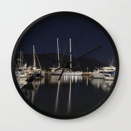 Marina at Night Wall Clock
