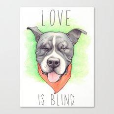 Pitbull - Love is blind - Stevie the wonder dog Canvas Print
