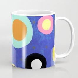 Marine Blue Watercolour Happy Circles Coffee Mug