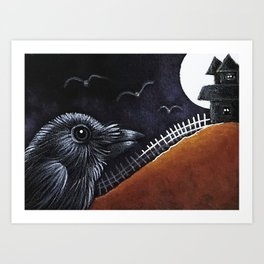 RAVEN CROW HALLOWEEN WITCH HOUSE Art Print