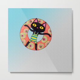 Black Cat Tubing at the Beach Metal Print