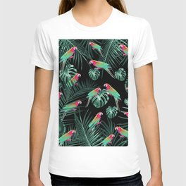 Parrots in the Tropical Jungle Night #1 #tropical #decor #art #society6 T-shirt
