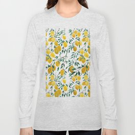 watercoor yellow lemon pattern Long Sleeve T-shirt