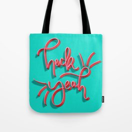Heck Yeah Hand Lettering - Blue Background Tote Bag
