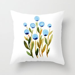 Simple watercolor flowers - blue and sap green Throw Pillow