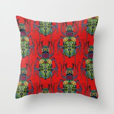 flower beetle red Throw Pillow