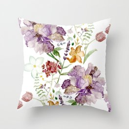 Rural Floral Pattern Spaced Out Throw Pillow