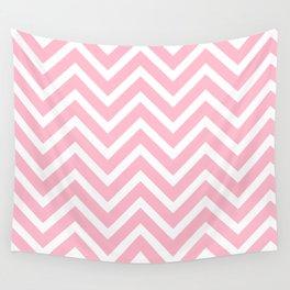 Chevron Stripes : Pink & White Wall Tapestry