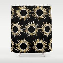 Art Deco Starburst in Black Shower Curtain
