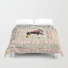 Adorable Boston Terrier Duvet Cover