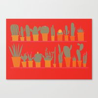 cacti Canvas Prints featuring Cacti by The Printed Peanut