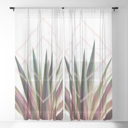 Tropical Desire - Foliage and geometry Sheer Curtain