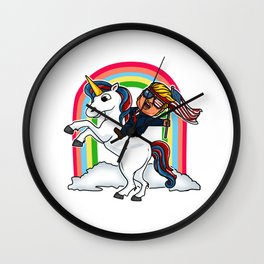 Trump Riding on Unicorn to Election 2020 Victory design Wall Clock