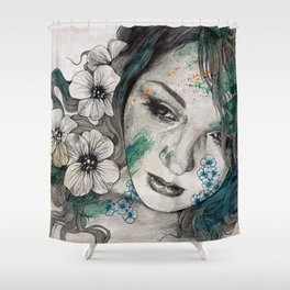 Cleopatra's Sling (flower tattoo lady portrait drawing) Shower Curtain