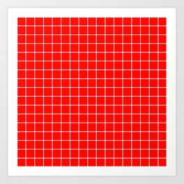 Candy apple red - red color - White Lines Grid Pattern Art Print