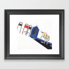 blue dog house Framed Art Print