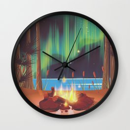 vintage camp fire Wall Clock