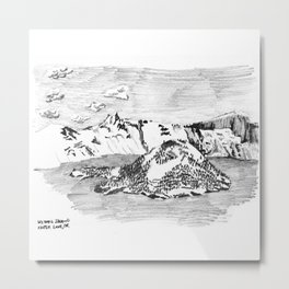 Drawing of Wizard Island in Crater Lake from the Rim Metal Print