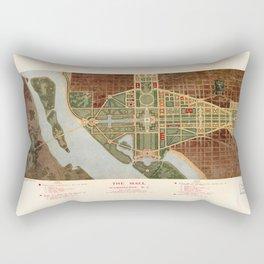 The Mall, Washington D.C. Map (1915) Rectangular Pillow