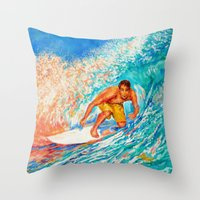 surfer Throw Pillows featuring Surfer by LiliyaChernaya