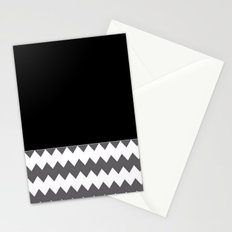 Chevron Gray Black And White - Glamour Stationery Cards