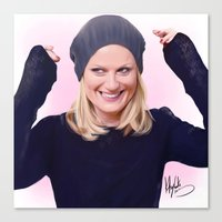 amy poehler Canvas Prints featuring Amy Poehler by kelsey cooke art