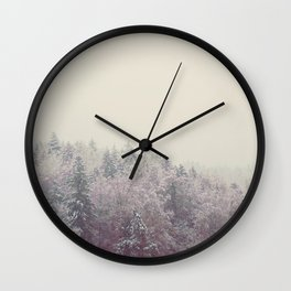 A snow covered woodland in the German Alps Wall Clock