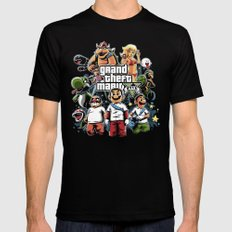 Grand Theft Mario Mens Fitted Tee Black MEDIUM