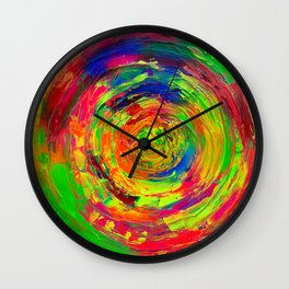 Gyps Dance 10 - Detail Relief Impasto Textured Modern Abstract Cercles Painting Wall Clock