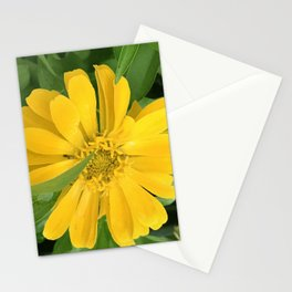 Lucious Yellow Zinnia Flower With Lush Leaves Stationery Cards