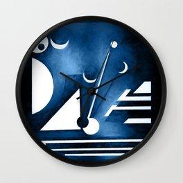 Moon and sky, geometric in classic blue pantone Wall Clock