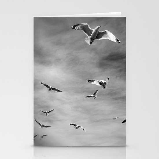 Seagulls, Grey Stationery Cards