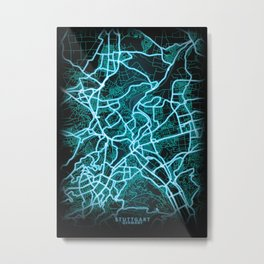 Stuttgart, Germany, Blue, White, Neon, Glow, City, Map Metal Print