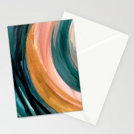 Breathe: a vibrant bold abstract piece in greens, ochre, and pink Stationery Cards